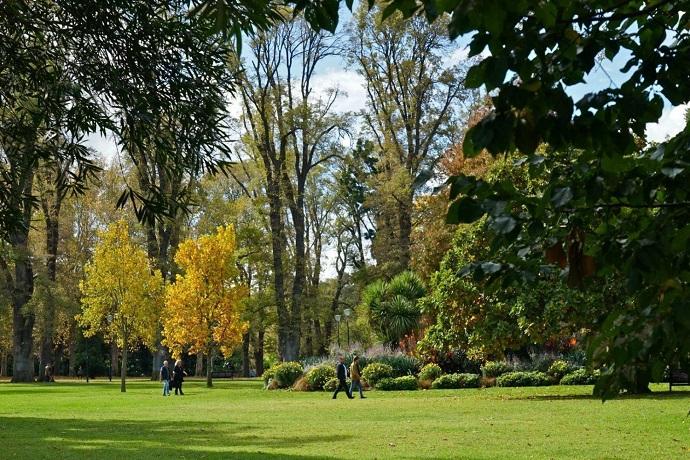 花园曾经是建造墨尔本时的采石场,石头采光后成为了花园。是一片面积很大的绿地,林荫小路旁是参天的大树。冬季,树木的叶子落得差不多了,枝条恍然拥抱天空的双手,伴随路旁和草坪上洒满金黄的落叶,在阳光的照射下,犹如油画般美丽。