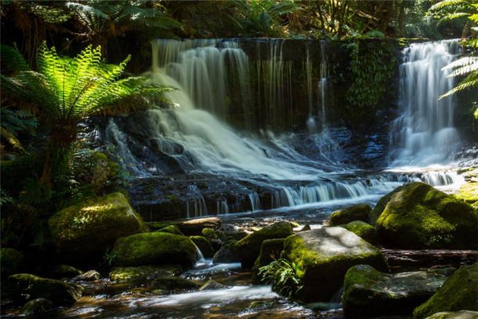 该地区最有特点的要数几个相隔不远的瀑布,分别是拉塞尔瀑布(Russel Falls)、马蹄铁瀑布(Horseshoe Falls)以及巴伦夫人瀑布(Lady Barron Falls),三个瀑布从近到远,步行时间依次是20分钟、30分钟和2小时。