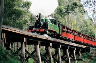 澳大利亚墨尔本一日游-墨尔本旅游,帕芬比利蒸汽小火车,丹地农山脉,布莱顿彩虹屋